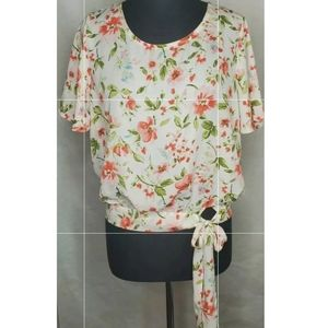 Socialite Floral Womens Top Shirt Size Large
